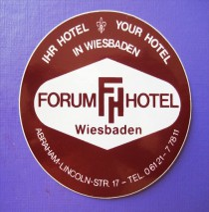 HOTEL PENSION FORUM WIESBADEN WATER GERMANY DEUTSCHLAND DECAL STICKER LUGGAGE LABEL ETIQUETTE AUFKLEBER BERLIN