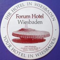 HOTEL PENSION FORUM WIESBADEN GERMANY DEUTSCHLAND DECAL STICKER LUGGAGE LABEL ETIQUETTE AUFKLEBER BERLIN