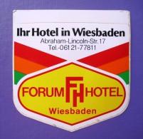 HOTEL PENSION HAUS FORUM WIESBADEN GERMANY DEUTSCHLAND DECAL STICKER LUGGAGE LABEL ETIQUETTE AUFKLEBER BERLIN