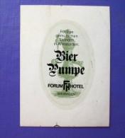 HOTEL PENSION HAUS BIER STUBE FORUM WIESBADEN GERMANY DEUTSCHLAND DECAL STICKER LUGGAGE LABEL ETIQUETTE AUFKLEBER BERLIN