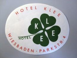 HOTEL PENSION HAUS KLEE WIESBADEN GERMANY DEUTSCHLAND DECAL STICKER LUGGAGE LABEL ETIQUETTE AUFKLEBER BERLIN