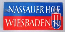 HOTEL PENSION HAUS NASSAUER WIESBADEN GERMANY DEUTSCHLAND DECAL STICKER LUGGAGE LABEL ETIQUETTE AUFKLEBER BERLIN