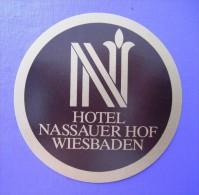 HOTEL PENSION NASSAUER WIESBADEN GERMANY DEUTSCHLAND DECAL STICKER LUGGAGE LABEL ETIQUETTE AUFKLEBER BERLIN