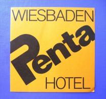 HOTEL PENSION PENTA WIESBADEN GERMANY DEUTSCHLAND DECAL STICKER LUGGAGE LABEL ETIQUETTE AUFKLEBER BERLIN