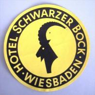 HOTEL PENSION SCHWARZER BOCK WIESBADEN GERMANY DEUTSCHLAND DECAL STICKER LUGGAGE LABEL ETIQUETTE AUFKLEBER BERLIN