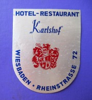 HOTEL PENSION KARLSHOF WIESBADEN GERMANY DEUTSCHLAND DECAL STICKER LUGGAGE LABEL ETIQUETTE AUFKLEBER BERLIN