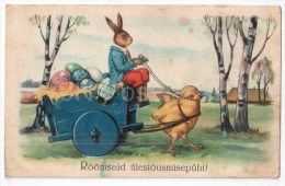 Easter Greeting Card - Chicken - Rabbit - Hare - Carriage - Egg - Old Postcard - Circulated In Estonia - Pasqua