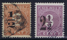 Dutch East Indies: NVPH Nr 38-39 Fb Verschoven Opdruk/moved Surcharge Used
