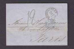 FRANCE. TIMBRE. LETTRE. HAMBURG. ALLEMAGNE. TOUR.ERQUELINES. 1863. PARIS. - [1] Precursores