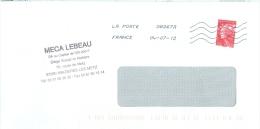 Frankreich Maizieres Les Metz TGST 2012 Briefmarke Marianne 20 G Meca Lebeau - Poststempel (Briefe)