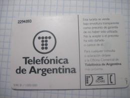 Argentine.  25 Units.  Telefonica De Argentina. Chip Phonecrad. - Argentina