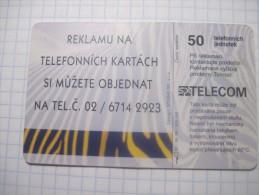 Czech Republik. Cesky Telecom. Advertising On Telephonecards.1996 50 Units - Advertising