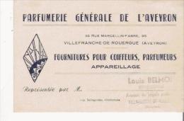 CARTE DE VISITE ANCIENNE PARFUMERIE GENERALE DE L'AVEYRON VILLEFRANCHE DE ROUERGUE - Vintage (until 1960)