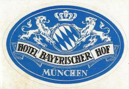 HOTEL PENSION BAYERISCHER HOF MUNCHEN MUNICH GERMANY DEUTSCHLAND DECAL STICKER LUGGAGE LABEL ETIQUETTE AUFKLEBER BERLIN - Hotel Labels