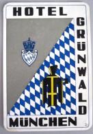 HOTEL PENSION GRUNWALD MUNCHEN MUNICH GERMANY DEUTSCHLAND DECAL STICKER LUGGAGE LABEL ETIQUETTE AUFKLEBER BERLIN