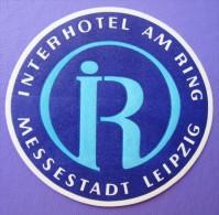 HOTEL PENSION INTERHOTEL MESSESTADT LEIPZIG GERMANY DEUTSCHLAND DECAL STICKER LUGGAGE LABEL ETIQUETTE AUFKLEBER BERLIN