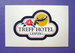HOTEL PENSION HAUSE TREFF LEIPZIG GERMANY DEUTSCHLAND DECAL STICKER LUGGAGE LABEL ETIQUETTE AUFKLEBER BERLIN