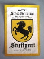 HOTEL PENSION HAUSE SCHWABENBRAU STUTTGART GERMANY DEUTSCHLAND DECAL STICKER LUGGAGE LABEL ETIQUETTE AUFKLEBER BERLIN