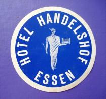 HOTEL PENSION HAUSE HANDELSHOF ESSEN GERMANY DEUTSCHLAND DECAL STICKER LUGGAGE LABEL ETIQUETTE AUFKLEBER BERLIN - Hotel Labels