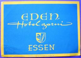 HOTEL PENSION HAUS EDEN GARNI ESSEN GERMANY DEUTSCHLAND DECAL STICKER LUGGAGE LABEL ETIQUETTE AUFKLEBER BERLIN