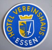 HOTEL PENSION HAUS VEREINSHAUSE ESSEN GERMANY DEUTSCHLAND DECAL STICKER LUGGAGE LABEL ETIQUETTE AUFKLEBER BERLIN