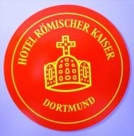 HOTEL PENSION ROMISCHER KAISER DORTMUND GERMANY DEUTSCHLAND DECAL STICKER LUGGAGE LABEL ETIQUETTE AUFKLEBER BERLIN