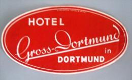 HOTEL PENSION HAUS GROSS DORTMUND GERMANY DEUTSCHLAND TAG DECAL STICKER LUGGAGE LABEL ETIQUETTE AUFKLEBER BERLIN