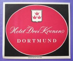 HOTEL PENSION HAUS 3 KRONEN DORTMUND GERMANY DEUTSCHLAND TAG DECAL STICKER LUGGAGE LABEL ETIQUETTE AUFKLEBER BERLIN