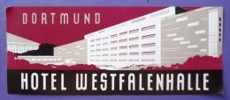 HOTEL PENSION HAUS WESTFALENHALL DORTMUND GERMANY DEUTSCHLAND TAG DECAL STICKER LUGGAGE LABEL ETIQUETTE AUFKLEBER BERLIN