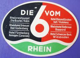 HOTEL PENSION DIFFERENT DIE 6 VOM RHEIN GERMANY DEUTSCHLAND TAG DECAL STICKER LUGGAGE LABEL ETIQUETTE AUFKLEBER BERLIN