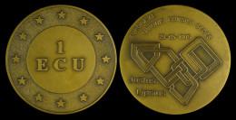 M01817 EUROPEAE UNIONIS CONSILII SEDES - JUSTUS LIPSIUS - 1995 (90 G) 1 ECU Entouré D´etoiles Au Revers - Firma's