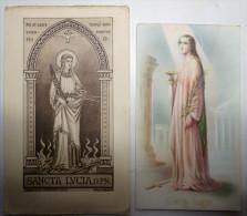Lot 2x Litho 1933 Et 1942 Maredret  Italie Image Pieuse Sainte Lucie Sancta Lucia - Images Religieuses