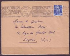 R.B.V.  De ROUEN R.P. Le 20 7 1953 SEINE-INFERIEURE     Pour CHATOU    GRAND PORTde VINS PRIMEURS BANANES - Mechanical Postmarks (Other)