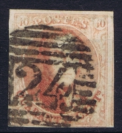 Belgium: 1851  OBP Nr 8 Used / Obl    Cancel Nr 24 - 1851-1857 Médaillons (6/8)