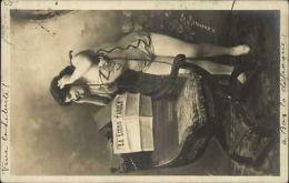 Pretty French Woman Newspaper La Libre Parole H. Manuel Real Photo Postcard