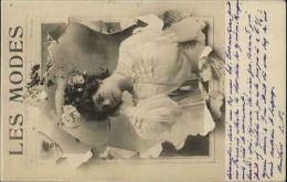 Pretty French Woman Newspaper Border LES MODES c1900 Real Photo Postcard