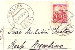 "TOP CARTE ESTONIA TALLIN ""VIGNETTE ESPERANTO"" Nº22.422 CIRCULEE 1924 TO ARGENTINA TBE RARISSIME GECKO - Estland"