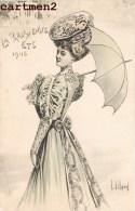 """ILLUSTRATEUR L. VILLARD """" LA PARISIENNE ETE 1905 """" MODE FEMME AU CHAPEAU OMBRELLE UMBRELLA FASHION - Illustratori & Fotografie"""