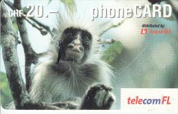 LIECHTENSTEIN - Monkey, Telecom FL Prepaid Card CHF 20, Exp.date 11/04, Used - Liechtenstein