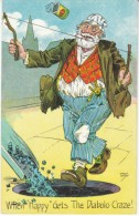 Bum Plays Diablo Falls In Coal Hole, Artist Signed August Hiltaf, C1900s/10s Vintage Postcard - Games & Toys