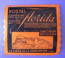 HOTEL RESIDENCIA PENSION FLORIDA CADIZ SPAIN ETIQUETA LUGGAGE LABEL ETIQUETTE AUFKLEBER DECAL STICKER MADRID