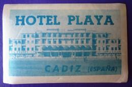 HOTEL RESIDENCIA PENSION PLAYA CADIZ SPAIN ETIQUETA LUGGAGE LABEL ETIQUETTE AUFKLEBER DECAL STICKER MADRID