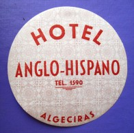 HOTEL RESIDENCIA PENSION ANGLO ALGECIRAS CADIZ SPAIN ETIQUETA LUGGAGE LABEL ETIQUETTE AUFKLEBER DECAL STICKER MADRID