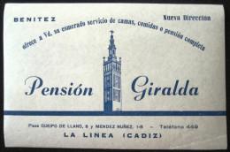 HOTEL RESIDENCIA PENSION GIRALDA LA LINEA CADIZ SPAIN ETIQUETA LUGGAGE LABEL ETIQUETTE AUFKLEBER DECAL STICKER MADRID