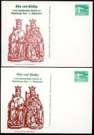 DDR PP18 B2/017 2 Privat-Postkarten FARBVARIANTEN DOM Magdeburg 1987 - Privatpostkarten - Ungebraucht