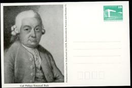 CARL PHILIPP EMANUEL BACH 1988 East German STO Postal Card PP18 B2/020 - Muziek