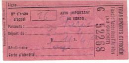 BILLET DE TRANSPORTS CITROEN AUTOBUS PARCOURS PARIS FABRICANT ROTATICKETS COSNE NIEVRE