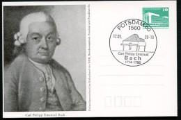 CARL PHILIPP EMANUEL BACH Piano 1988 East German Private Postal Card PP18 B2/020 - Musica