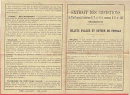 CONDITIONS DU TARIF SPECIAL GV 6 ET COMMUN GV 106 EN 1923 BILLETS DE TRAIN D ALLER ET RETOUR DE FAMILLE
