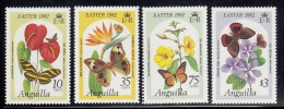 Anguilla MNH Scott #480-#483 Set Of 4 Butterflies On Flowers - Easter 1982 - Anguilla (1968-...)